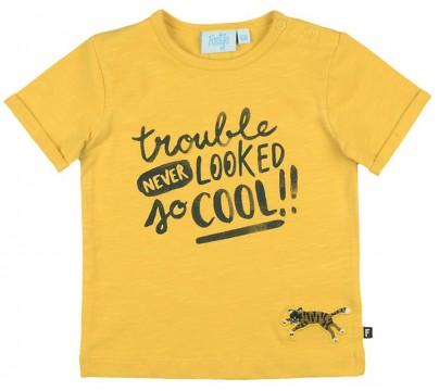 """Kräftig gelbes T-Shirt aus Bio BW Jersey mit Spruch Print von FEETJE """"Born to be Wild"""" 0543"""