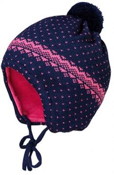Babymütze aus Wollstrick mit BW Fleece Futter in Navy / Pink mit MInibommel von MAXIMO 207900