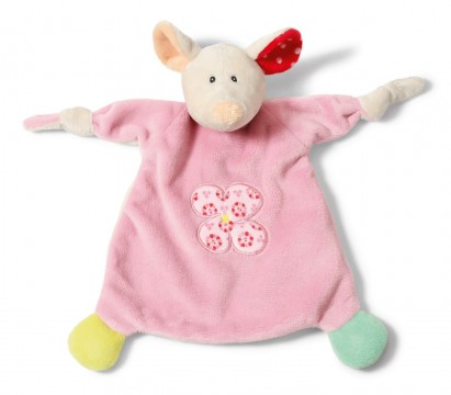 Schmusetuch / Schnuffeltuch aus weichem Nicki Plüsch Modell: Maus in Rosa von NICI 39248