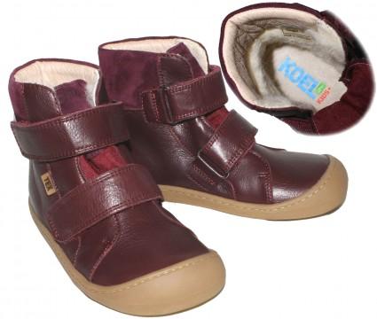 Leder Stiefel mit Klett in Bordeaux, Wollfutter, TEX, Barfußschuhe, Weite W von KOEL4KIDS 989 TWB