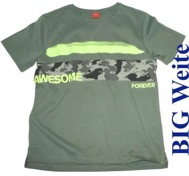 Cooles T-Shirt in Army Green - BIG Weite - mit Camouflage Print von S.OLIVER Junior 8900