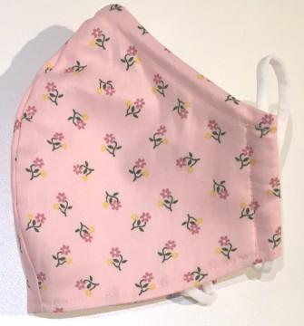 Mund & Nasen Bedeckung mit Nasenbügel One Size aus 100% BW. Modell: Mini Blumen auf Rosa