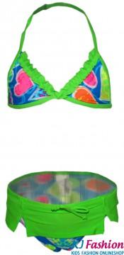 Bikiniset in Neon Grün mit Rüschenbesatz & Miniröckchenbesatz von LENTIGGINI