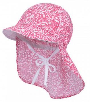 Schirmmütze mit Nackenschutz z. binden in Puder Rot geblümt UV Schutz 50+ von MAXIMO 057300