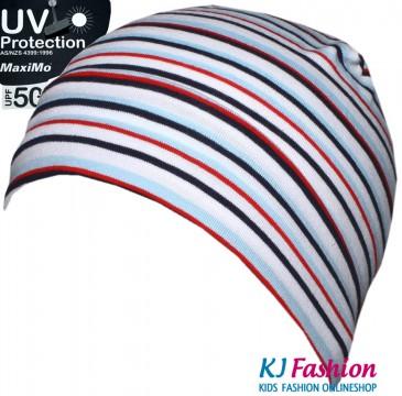 BW Jersey Mütze, Topfmütze Ringel von MAXIMO UV 50+ Maritim, Blau Rot gestr. 333185-8604