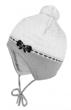 Babymütze in Cremé / Grau mit blauer Schleife & Mini Bommel, BW Strick v. MAXIMO zum binden 363300
