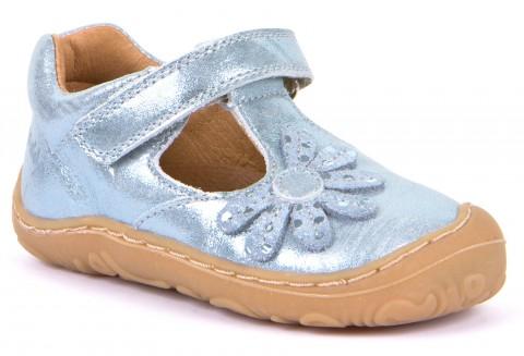 Zauberhafte Barfußschuhe / Halbsandale aus Leder in Hellblau Glitter mit Blüte von FRODDO 40047