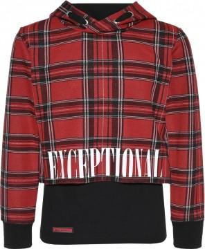 Boxy Shirt, Cropped Länge + schwarzem Longtop, Schottenkaro in Rot / Schwarz BLUE EFFECT 5558