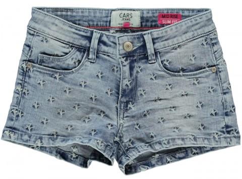 Super Stretch Hot Pants in Stoned Blue Used mit Sternen Stick für Girls von CARS JEANS 3582405