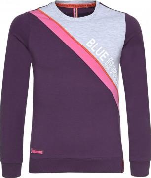 Sweatshirt in Dunkel Lila / Grau Melange & Pinkem Streifen von BLUE EFFECT 5569