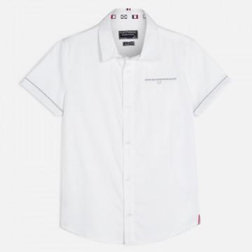 Schickes Hemd Kurzarm in Weiß aus BW, feine Rippstruktur für Jungen von MAYORAL 6147