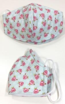 Mund & Nasen Bedeckung mit Nasenbügel One Size aus 100% BW. Modell: Rosen auf Hellem Mint