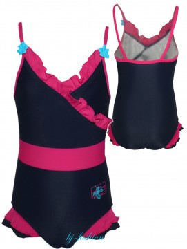 Badeanzug in Marine / Pink mit Volantbesatz, Front unterfüttert, von BECO 6842