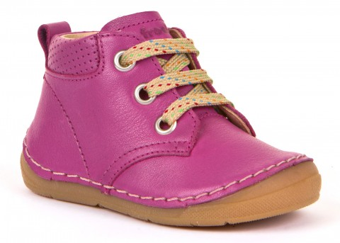 Flexibler Leder Lauflernschuh, Schnürer, weitere Weite / Spannhöhe in Pink von FRODDO G2130187-2