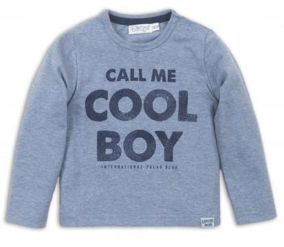 """Schlichtes LA Shirt in Jeansblau Melange mit """"Cool Boy"""" Print für Jungen von DIRKJE 36471"""