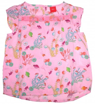 official images affordable price purchase cheap Luftig leichtes Sommershirt / Bluse in Rosa mit Aquarium Print von S.OLIVER  Kids 2183