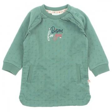 Cooles Shirtkleid / Sweatkleid aus Bio BW French Terry in mattem Grün von FEETJE - Mon Petit - 0338
