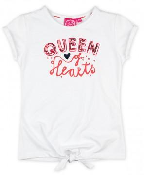 """Weißes T-Shirt mit Pailletten bestickt und rotem Schriftprint von JUBEL """" Funbird """" 0252"""