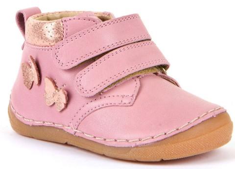 Halbschuhe Klett, Flexsohle, Glattleder, hoher Spann & breitere Füße Rosa Glitter v. FRODDO G2130221