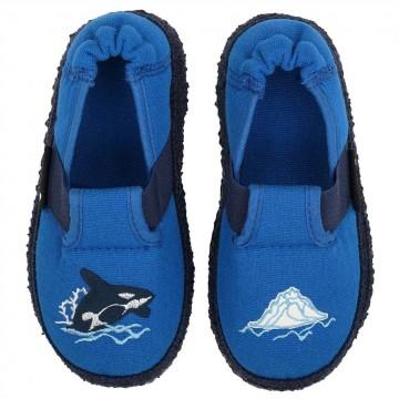 Flexible Hausschuhe in Kobalt Blau ORCA von NANGA - rutschhemmende Sohle Super weich