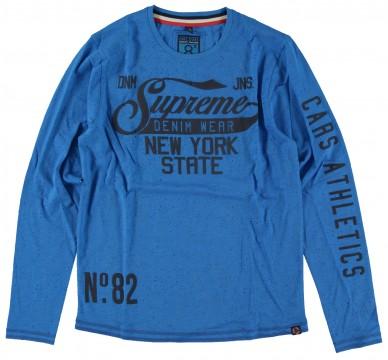 LA Shirt in Kobalt Blau aus Slub Garn / Baumwolle mit Frontprint von CARS JEANS 3102916
