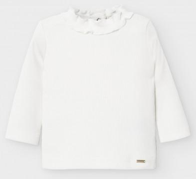 Basic Shirt mit gesmoktem Stehkragen in Cremé Weiß aus Ripp Jersey von MAYORAL 2053