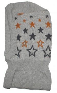 Schalmütze / Schlupfmütze aus 100% BW Feinstrick in Grau mit Sternen von MAXIMO 371500