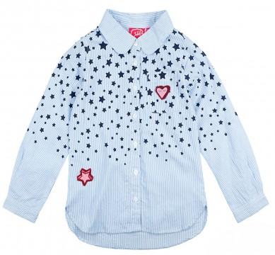 Schicke Hemd - Bluse in Hellblau / Weiß gestreift mit Sternen von JUBEL - Slim fitting 0012