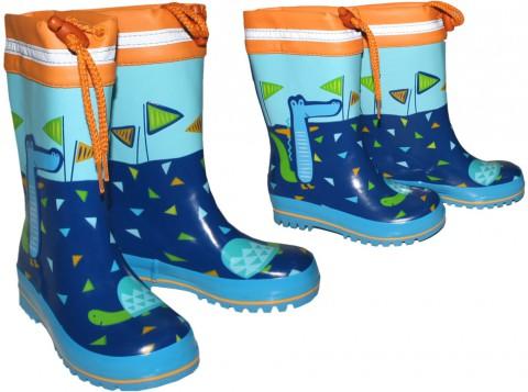 Gummistiefel mit extra hohem Naturkautschuk Handbemalt ♦ Krokodil in Blauem See ♦ von MAXIMO