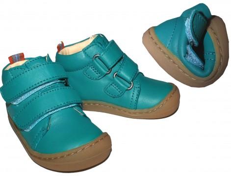 Flexible Bio Leder Schuhe / Barfußschuhe in Türkis / Mint mit Klett von KOEL4KIDS - BOB 841