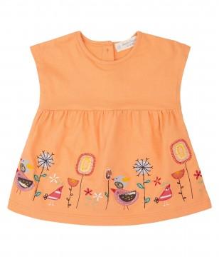 Tunika Shirt Kurzarm in Orange mit Stickereien, aus GOTS z. BW von Sense Organics 2011749