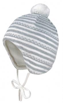 Strickmütze aus reiner BW in Grau / Weiß geringelt, Minibommel, zum binden, von MAXIMO 362000