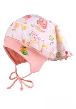 Kopftuchmütze UPF 50+ Apricot Aquarell Früchte, mit Jersey Einsatz, zum binden von MAXIMO 049076