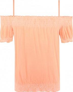 Carmenshirt Kurzarm verstellbare Träger in Neon Orange, Viskose Jersey BLUE EFFECT 5491