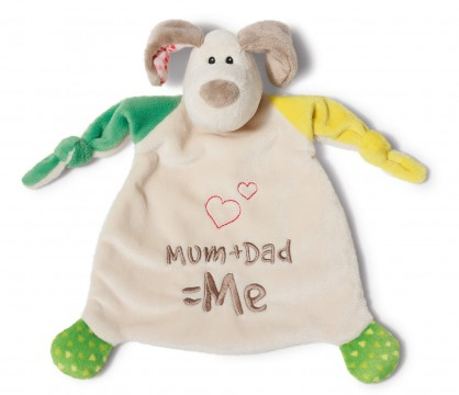 """Schmusetuch / Schnuffeltuch aus weichem Nicki Plüsch HUND """" Mum+ Dad =Me """"von NICI 40037"""