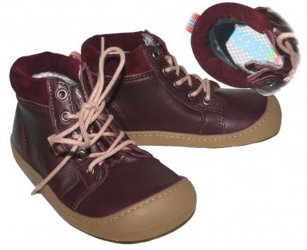 Wasserdichte Leder Stiefel Bordeaux, halbhoch, Barfußschuhe, TEX Membran Weite W KOEL4KIDS 929 TW