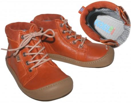 Wasserdichte Leder Stiefel in Rost, halbhoch, Barfußschuhe, TEX Mem. Weite W KOEL4KIDS 929 TW