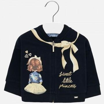 Süße Sweatjacke in Marine Blau mit goldenem Print & aufgesticktem Tüllrock von MAYORAL 2438