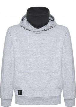 Cooler Hoodie / Kapuzensweater Uni Grau mit eingenähter Behelfsmaske von BLUE EFFECT 6155