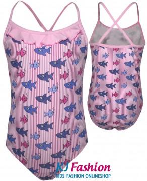 Süßer Badeanzug in rosa mit kleinen Fischen von FASHY Modell 2530001