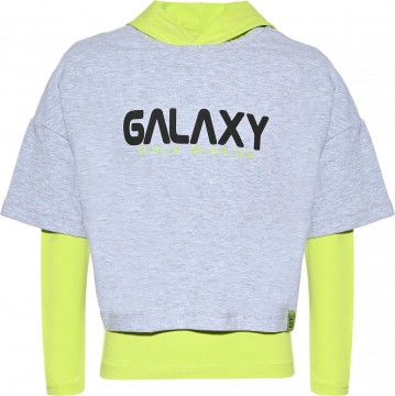 LA Shirt mit Kapuze in Neon Apfel + Boxy Shirt in Cropped Länge in Hellgrau von BLUE EFFECT 5590