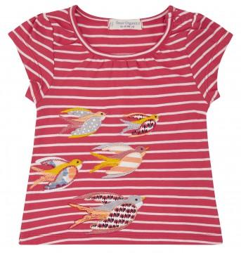 T-Shirt aus GOTS z. BW in Matt Pink/ Rot mit Weiß gestreift von SENSE ORGANICS 2011401