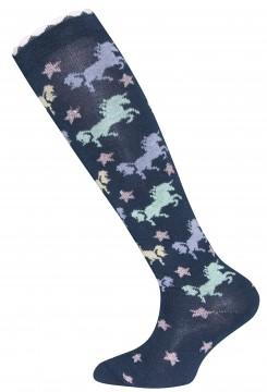 1 Paar Kniestrümpfe in Navy Blau, Pastell buntes Pferde Design & Glitzer Sterne von EWERS 601057