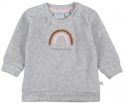 """Süßer Sweater aus Nicki Plüsch in Hellgrau mit Rainbow Stick von FEETJE - """"Rainbow"""" 1499"""