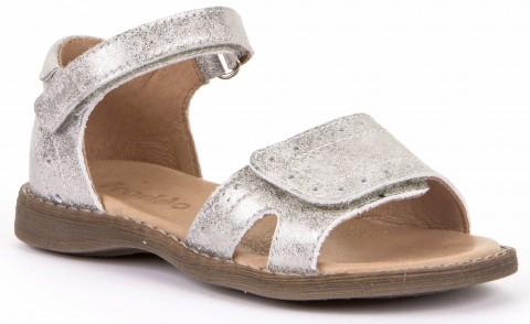 Zauberhafte Ledersandale in Silber Glitter mit zwei Klettverschlüssen von FRODDO G3150150
