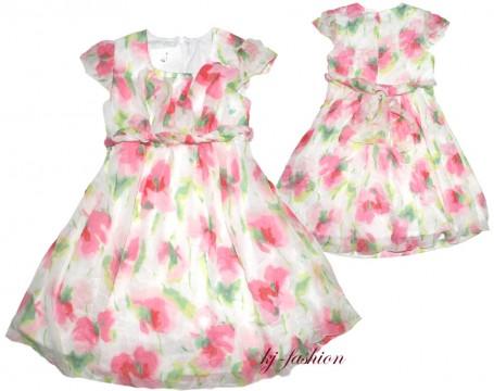 Luftig leichtes Kleid in Aquarell Optik mit Blumenmuster Modell JANINA