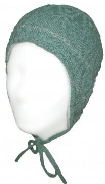 Warm haltende Wintermütze, Mint Grün mit grau Glitzerndem Str., z.Binden von MAXIMO 300100