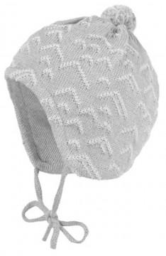 Süße BW Strickmütze in Uni Steingrau mit Minibommel, zum binden von MAXIMO 364700
