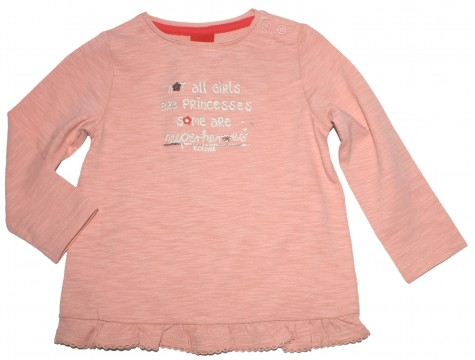 LA Shirt in Altrosé mit Volant Abschluß und Glitzerslogan von S.OLIVER Baby 8651
