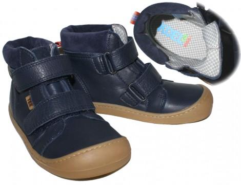 Wasserdichte Leder Stiefel, halbhoch mit Klett, Barfußschuhe, TEX Membran Weite W - KOEL4KIDS 928TW